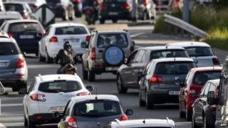 Traffic jam in Switzerland