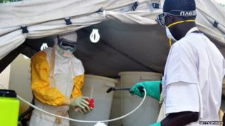 Medical workers decontamination