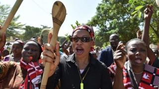 Burkina Faso's opposition supporters take part in a protest on 28 October 2014 in Ouagadougou