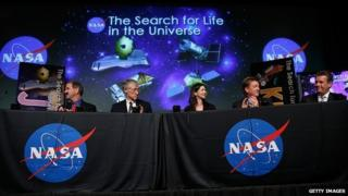 Nasa scientists at an event