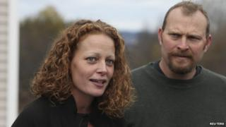Nurse Kaci Hickox (left) and boyfriend Ted Wilbur appeared in Fort Kent, Maine, on 31 October 2014