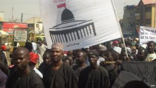 Shia Muslims march through the streets of the northern Nigerian city of Kano on 7 January 2009 in protest against the Israeli bombardment of Gaza