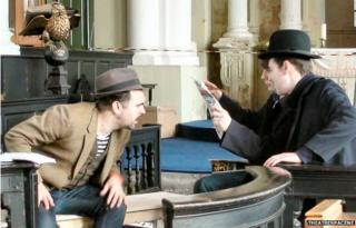 Actors rehearsing for the 39 Steps at the Holy Trinity Church in Sunderland
