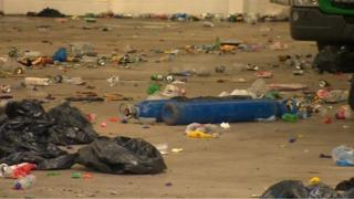 Rubbish left after illegal rave