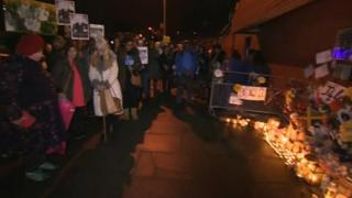 The vigil outside Luton police station