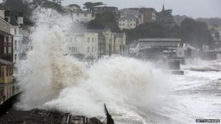 Flooded railway line in Dawlish