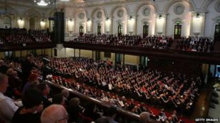 General view of the memorial service inside Sydney town hall
