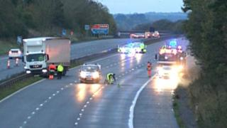 Emergency vehicles on the M5