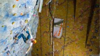 Climbing competition at Ice Factor