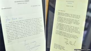 Letters of condolence from Margaret Thatcher (pictured left) and President Bush in the wake of the IRA bombing at Deal barracks in Kent in 1989