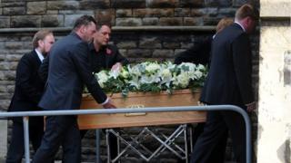 Alvin Stardust's coffin leaves St Thomas church in Swansea