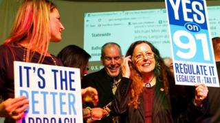 Supporters of marijuana legalisation celebrate in Oregon.