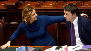 Marianna Madia with Italian PM Matteo Renzi in parliament in Rome in February