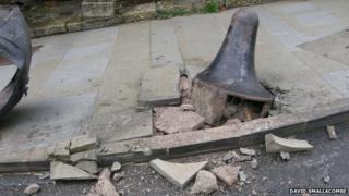 Damaged street bollard, Norton St Phillip