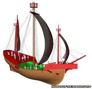 Graphic image of Newport medieval ship