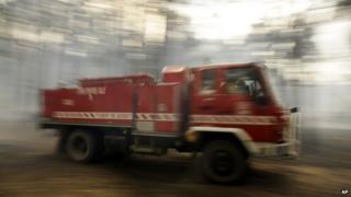 Fire truck leaving bushfire in Australia