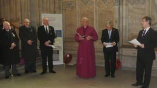 Lord Eames, former Church of Ireland Primate, conducts the commemoration service for Captain Arthur O'Neill at Westminster