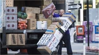 Man delivering goods in New York