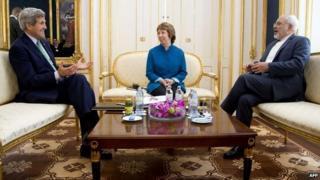 US Secretary of State John Kerry, EU representative Catherine Ashton, and Iranian Foreign Minister Mohammad Javad Zarif at talks in Vienna, Austria - 15 October 2014