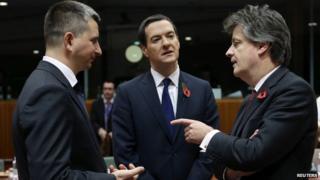 From left: Polish Finance Minister Mateusz Szczurek, UK Chancellor George Osborne and European Commissioner for Financial Services Jonathan Hill