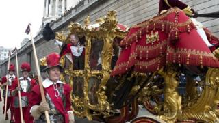 """Alan Yarrow, the new Lord Mayor waves to the crowds during the Lord Mayor""""s Show in the City of London."""