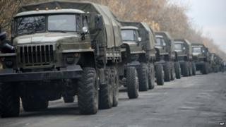 Unmarked military vehicles near Snizhne in eastern Ukraine - 8 November