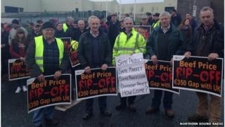 Farmers at Clones, County Monaghan, Ireland, are among 14 protest sites