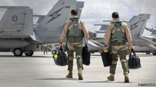F/A-18F Super Hornet aircrew prepare to leave for the Middle East from RAAF Base Amberley in Australia - 21 September 2014