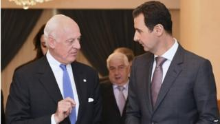 Staffan de Mistura (left) with Bashar al-Assad