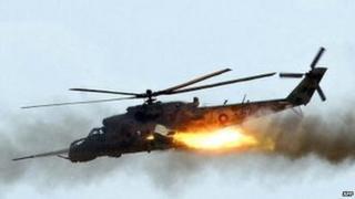 Armenian Mi-24 helicopter ona training exercise