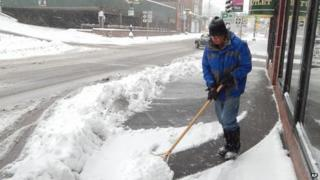 Houghton in Michigan is clearing up after heavy snowfall