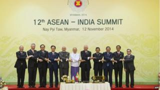 Mr Modi (fifth from left) urged Asean leaders to invest in India