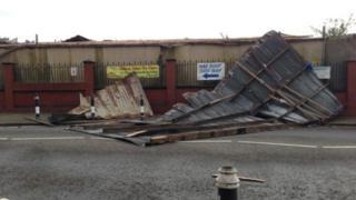 Wind damage at Barry Island