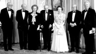 Queen Elizabeth II was pictured in 1984 with Margaret Thatcher and five of her predecessors as prime minister