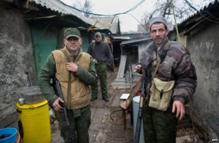 Pro-Russian gunmen in Donetsk, 13 November