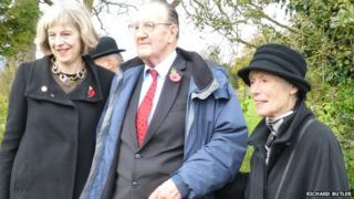Maidenhead MP Theresa May, Jim Waldron from Wargrave and Mary Burge from Shiplake