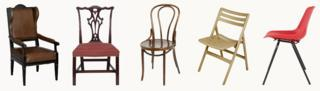 From left: Wing arm chair, Chippendale chair, Thonet No 14, Jasper Morrison folding Air Chair, Robin Day Polyprop chair