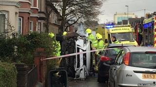 Crashed car in Caerleon Road