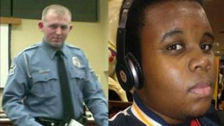 Darren Wilson, left, Michael Brown, right