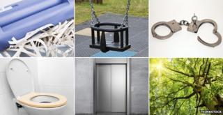 Paper shredder, baby swing, handcuffs, toilet seat, lift, tree