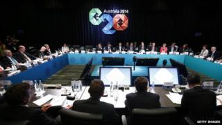 Australian Prime Minister Tony Abbott addresses the B20 meeting ahead of the G20 leaders summit on 14 November 2014 in Brisbane Australia