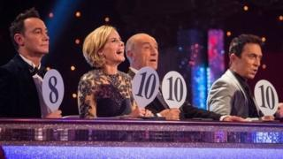Strictly judges from left to right, Craig Revel Horwood, Darcey Bussell, Len Goodman and Bruno Tonioli on the Saturday 15 November live show