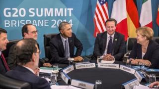 Francois Hollande, Barack Obama, David Cameron and Angela Merkel at the G20 in Brisbane