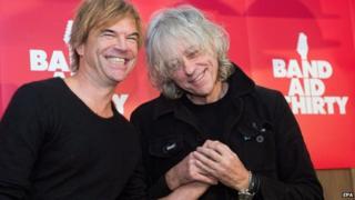 German singer Campino (L) and Sir Bob Geldof (R) pose in Berlin, Germany on 13 November 2014