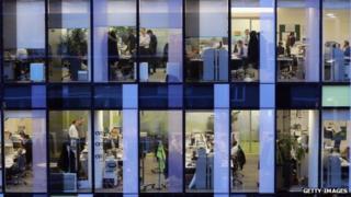 an office scene taken from outside