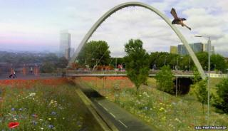 Mock-up of Manchester city centre with wildflowers and birds