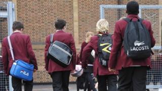 Pupils enter school