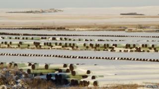 Keystone pipes in North Dakota