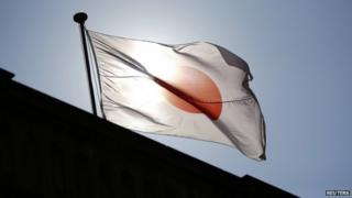 A Japanese flag flutters at the Old Building of Bank of Japan's head office in Tokyo