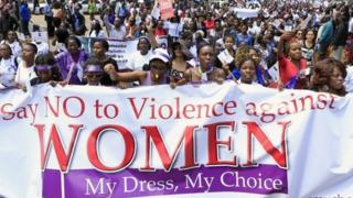 Women take part in a protest along a main street in the Kenyan capital of Nairobi (17 November 2014)